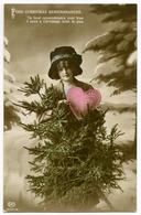 FOND CHRISTMAS REMEMBRANCES : PRETTY GIRL WITH CHRISTMAS TREE AND LOVE HEART - Christmas