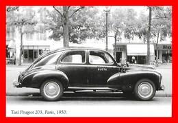 CPSM/gf TRANSPORTS.  Taxi Peugeot 203 à Paris 1950.  Société SLOTA, Hôtel...I0783 - Taxi & Carrozzelle
