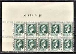 FRANCE 1944 - BLOC DE 10 TP / Y.T. N° 642  - NEUFS** / COIN DE FEUILLE - France