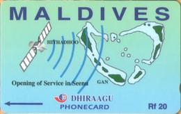 Maldives - GPT, Opening Of Service In Seena, Satellite, Map, 7MLDA, 2/00, Mint - Maldiven