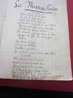 LA MARSEILLAISE - HYMNE à La LIBERTÉ -GLOIRE à L'ECOLE - MANUSCRIT SUR PAGES CAHIER D'ÉCOLE écriture Porte Plume Encre - Manuscrits