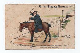 ELLAART POSTCARD Comic Men & HORSE HORSES RAILWAY STEAM TRAIN RAILROAD - Chemins De Fer