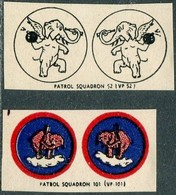 ELEPHANT USA Navy Air Force WW2 Patrol Squadron 52 & 101 Military Emblem Vignette Poster Cinderella Reklamemarke ELEFANT - Eléphants