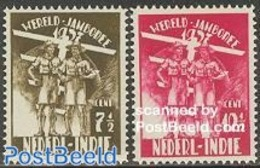 Netherlands Indies 1937 Jamboree Netherlands 2v, (Mint NH), Sport - Scouting - Netherlands Indies