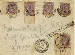 1931- Enveloppe Affr 10 C Blanc X 5 Oblit. Exposition Coloniale INT.ale / PARIS - Marcophilie (Lettres)