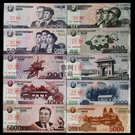 2012 North Korea Banknotes 100 Aniversary Of Kim Ll-sung Specimen 10V - Corea Del Nord