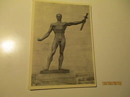 GERMANY WW II PATRIOTIC ART , NUDE MAN WITH SWORD , ARNO BREKER WEHRMACHT , OLD POSTCARD , 0 - Patriotic