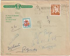 ESC Imprimés Belgique Liège Taxée 0,40 Oblitéré Par Griffe Linéaire Die Drome 1972 - Postmark Collection (Covers)