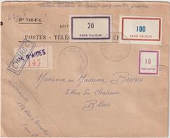 """ESC PTT """"valeur Déclarée 61000 F"""" Centre D'Instruction Paris 330(F) """"chargée"""" Cours D'Aides (2 Scans) - Postmark Collection (Covers)"""