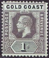 GOLD COAST 1913 KGV 1/- Black/Green SG79 MH - Costa D'Oro (...-1957)
