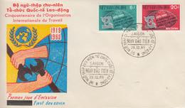 Enveloppe  FDC   1er  Jour   VIETNAM   50éme  Anniversaire  De  L' Organisation  Internationale   Du  Travail   1969 - Viêt-Nam