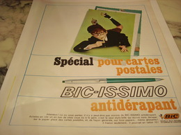 ANCIENNE PUBLICITE POUR CARTE POSTALE STYLO BIC ISSIMO ANTIDERAPANT  1965 - Autres Collections