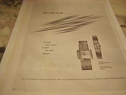 ANCIENNE  PUBLICITE DU STYLE  MONTRE  CYMA  1965 - Bijoux & Horlogerie