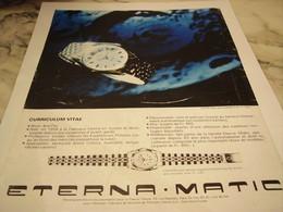 ANCIENNE PUBLICITE LA KON TIKI MONTRE ETERNA.MATIC 1965 - Autres