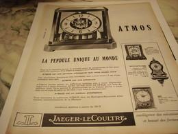 ANCIENNE PUBLICITE PENDULE ATMOS JAEGER-LECOULTRE 1965 - Autres