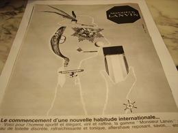 ANCIENNE PUBLICITE PARFUM MONSIEUR  LANVIN  1965 - Publicités