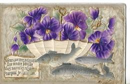 Superbe Carte Fantaisie En Relief  Poisson D'Avril / Parapluie, Violettes, Message - 1er Avril - Poisson D'avril