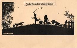 Silhouette. CPA.  Par Elsbeth Forck, 1919.  Le Renard A Attrapé Un Canard. Allemagne. - Silhouettes