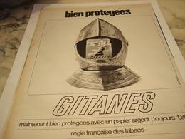 ANCIENNE PUBLICITE BIEN PROTEGE CIGARETTE  GITANES 1965 - Tabac (objets Liés)