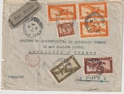 ESC/avion 6$79c Saigon Cochinchine -> Levallois Perret + Contrôle 1934 - Lettres & Documents