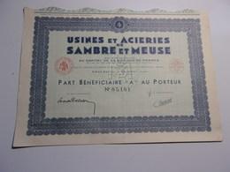 Usines Et Acieries De SAMBRE ET MEUSE (1942) Jeumont,nord - Non Classés