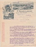 Algérie Facture Lettre Illustrée 27/8/1910 SENECLAUZE Viticulteur Saint Eugène ORAN à Brulat Vins Frugières Haute Loire - Factures & Documents Commerciaux