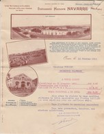 Algérie Facture Lettre Illustrée 1912 NAVARRE Vins Huile D'olive ORAN à Vuilley Colombier Chatelot - Déchirée Haut Droit - Factures & Documents Commerciaux
