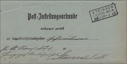 Post Zustellurkunde Steinach/Meiningen 1889 - Deutschland