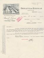 Algérie Facture Lettre Illustrée 13/6/1933 Domaine De Rekisah ORAN - RAVEL Frères Bureau à Sète Hérault - Factures & Documents Commerciaux
