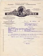 Algérie Facture Lettre Illustrée 13/1/1948 R LOVERSE Agence Maritime ORAN à LLaurens Transit Sète Hérault - Factures & Documents Commerciaux