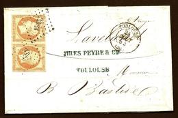 LET 1- LETTRE A 80 Ct AVEC BELLE PAIRE EMPIRE N°16b-LOSANGE PC 3383 + CAD T.15 DE TOULOUSE 1854-  3 SCANS - Marcophilie (Lettres)