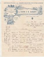 Algérie Facture Lettre Illustrée 16/6/1934 PASTOR & KARSENTY Monuments Funéraires Chapelles Caveaux ORAN - Factures & Documents Commerciaux