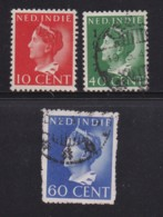 NETHERLAND-INDIES, 1941, Used Stamp(s), Wilhelmina , NVPH 274=289, Scannr. 5418, 3 Values Only - Netherlands Indies