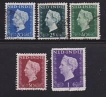 NETHERLAND-INDIES, 1948, Used Stamp(s), Wilhelmina , NVPH 337=346, Scannr. 5421, 5 Values Only - Netherlands Indies