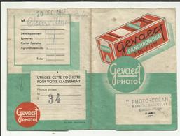 """40. MIMIZAN . POCHETTE DEVELOPPEMENT  GEVAERT PHOTO .1947 .  STUDIO  """" PHOTO OCEAN """" PHOTOGRAPHE MARIE -L SANSOULET - Matériel & Accessoires"""