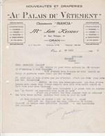 Algérie Facture Lettre Illustrée 29/3/1944 Sam Kessous Au Palais Du Vêtement Confection Chaussures ORAN - Clairet Vienne - Factures & Documents Commerciaux