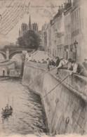 ***  75  ** *  PARIS  Les Pêcheurs Quai De Bethune  (petites Salissures Dos ) Precurseur Timbré TB - Notre Dame De Paris