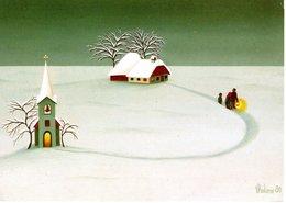 Christmette Weihnachten - Künstlerkarte Von Vladimir - Ungelaufen Naiv - Künstlerkarten