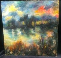Impressionniste Huile Sur Toile Sur Panneau - Milieu Du XIXe Siècle - Incendie - Impressionist Oil On Canvas - Mid 19th - Huiles
