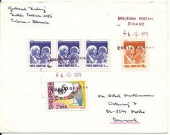Albania Cover Sent To Denmark Tirana 4-12-1995 Topic Stamps - Albania