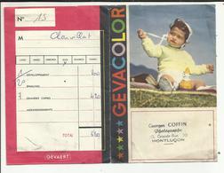 """03 . MONTLUCON . POCHETTE DEVELOPPEMENT PHOTO GEVACOLOR  . STUDIO  """"  G. COFFIN   """"   GRANDE RUE - Matériel & Accessoires"""