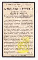DP Madeleine Catteau ° Wijtschate Heuvelland 1894 † Menen Menin 1939 X Achiel Denecker - Images Religieuses
