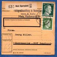 Colis Postal  /  Départ Metz Opernplatz / Pour Herrschweiler Post Sengbusch ( Seingbouse ) / 7-01-43 - Allemagne