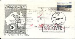 Australia Cover Tamworth 17-4-1986 Single Franked And Returned Como 21-4-1986 - 1980-89 Elizabeth II