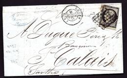 """LET 1- LETTRE A 20 Ct AVEC CÉRÈS N°3 NOIR -GRILLE """"BRICOLÉE"""" + CAD T.15 DE ROUEN- MARS 1850-  3 SCANS - Marcophilie (Lettres)"""
