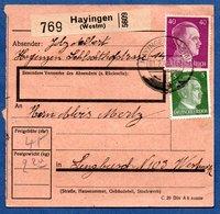 Colis Postal  /  Départ Hayingen ( Hayange ) / Pour Sengbusch ( Seingbouse ) / 1-02-43 - Allemagne