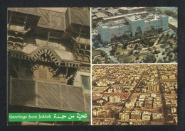 Saudi Arabia 3 Scene Greetings From Jeddah Picture Postcard View Card - Arabie Saoudite