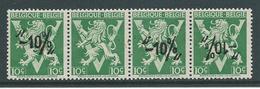 België 724p Strook Van 4 Met Ontbrekende Opdruk - Curiosités