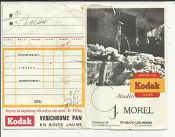 """63 . SAINT ELOY LES MINES  . POCHETTE DE DEVELOPPEMENT  PHOTO KODAK   . STUDIO """"  G. MOREL  """" - Matériel & Accessoires"""