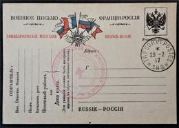 Cachet CROIX ROUGE RUSSE + Trésor Et Postes 189 Sur Carte De Franchise Militaire Troupes Russes En France Février 1917 - Postmark Collection (Covers)